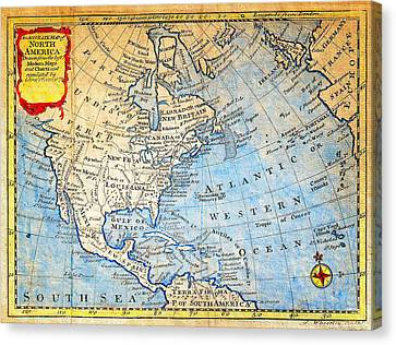 1747 Bowen Map Of North America Geographicus Northamerica Bowen 1747 Canvas Print by MotionAge Designs