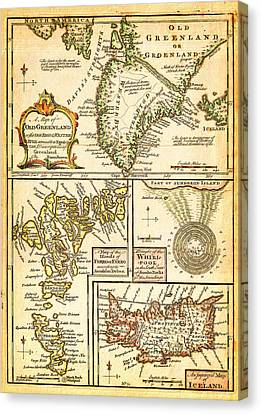 1747 Bowen Map Of The North Atlantic Islands Greenland Iceland Faroe Islands Maelstrom Geographicus  Canvas Print by MotionAge Designs