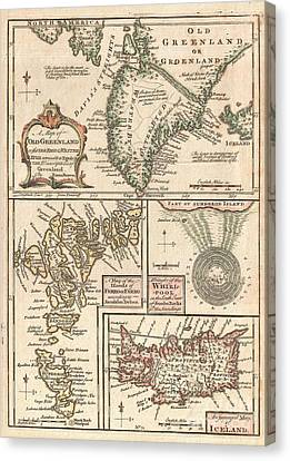 1747 Bowen Map Of The North Atlantic Islands Greenland Iceland Faroe Islands Canvas Print by Paul Fearn