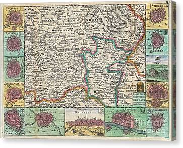 1747 La Feuille Map Of Brabant  Canvas Print by Paul Fearn