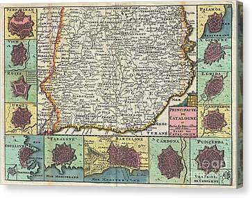 1747 La Feuille Map Of Catalonia Spain Canvas Print