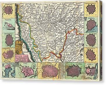 1747 La Feuille Map Of Piedmont Italy Canvas Print