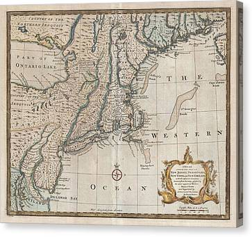 1747 New Jersey Map Canvas Print by Dan Sproul