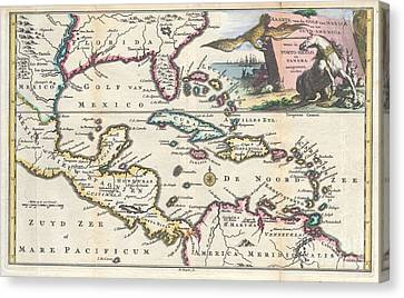 1747 Ruyter Map Of Florida Mexico And The West Indies Canvas Print