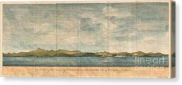 To Dominate Canvas Print - 1748 Anson View Of Zihuatanejo Harbor Mexico by Paul Fearn