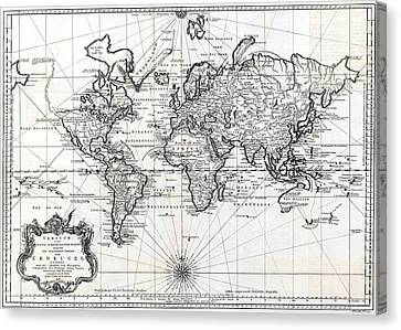 1748 Antique World Map Versuch Von Einer Kurzgefassten Karte  Canvas Print by Karon Melillo DeVega