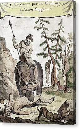 1750 Execution Torture By Asian Elephant Canvas Print by Paul D Stewart