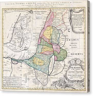 1750 Homann Heirs Map Of Israel  Palestine Holy Land  Canvas Print by Paul Fearn