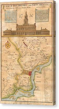1752  Scull  Heap Map Of Philadelphia And Environs Canvas Print by Paul Fearn