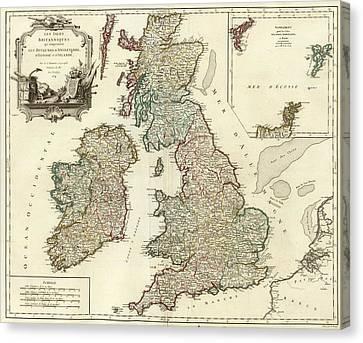 Colonial Man Canvas Print - 1754 British Isles Vintage Map Print by Helena Kay