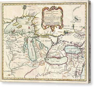 To Dominate Canvas Print - 1755 Bellin Map Of The Great Lakes by Paul Fearn