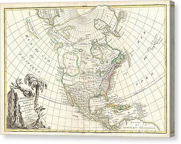 1762 Janvier Map Of North America  Canvas Print by Paul Fearn