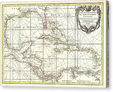 1762 Zannoni Map Of Central America And The West Indies Canvas Print