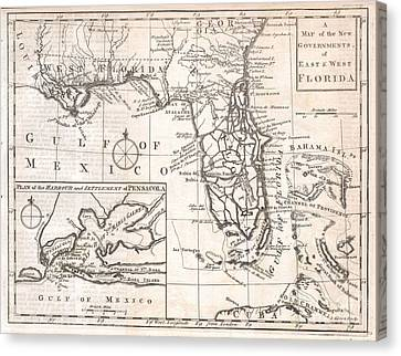 1763 Gibson Map Of East And West Florida Canvas Print by Paul Fearn