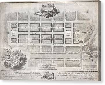 1768 James Craig Map Of New Town Edinburgh Scotland  Canvas Print by Paul Fearn