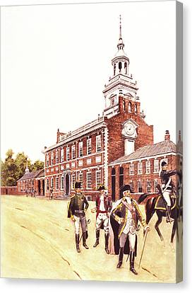 Colonial Man Canvas Print - 1770s 1700s Officers Of The French by Vintage Images