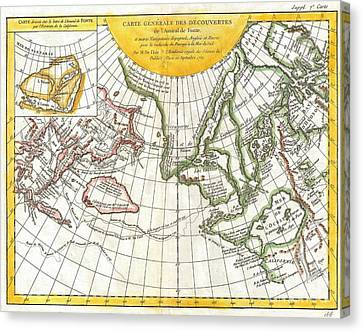 1772 Vaugondy And Diderot Map Of The Pacific Northwest And The Northwest Passage Canvas Print