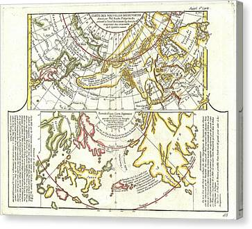 1772 Vaugondy Diderot Map Of Alaska The Pacific Northwest And The Northwest Passage Canvas Print by Paul Fearn