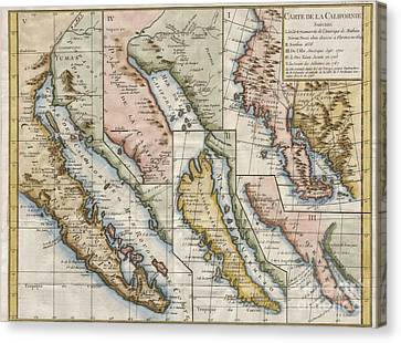 Cooks Illustrated Canvas Print - 1772 Vaugondy  Diderot Map Of California In Five States California As Island by Paul Fearn