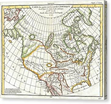Version 1 Canvas Print - 1772 Vaugondy  Diderot Map Of North America And The Northwest Passage by Paul Fearn