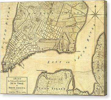 1776 New York City Map Canvas Print