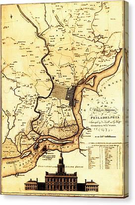 1777 Philadelphia Map Canvas Print