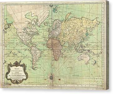 1778 Bellin Nautical Chart Or Map Of The World Canvas Print by Paul Fearn