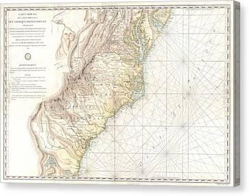 1778 Sartine Map Of Georgia North Carolina South Carolina Virginia And Maryland Canvas Print by Paul Fearn