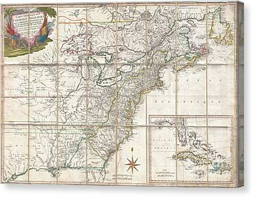 1779 Phelippeaux Case Map Of The United States During The Revolutionary War Canvas Print by Paul Fearn