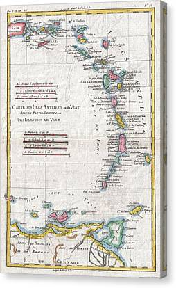 1780 Raynal And Bonne Map Of Antilles Islands Canvas Print