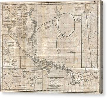 Lead The Life Canvas Print - 1784 Tiefenthaler Map Of The Ganges And Ghaghara Rivers India by Paul Fearn