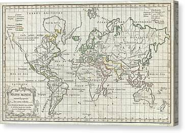 1784 Vaugondy Map Of The World On Mercator Projection Canvas Print