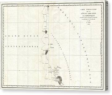 1786 La Perouse Map Of San Francisco Monterey Bay California And Oregon Canvas Print by Paul Fearn