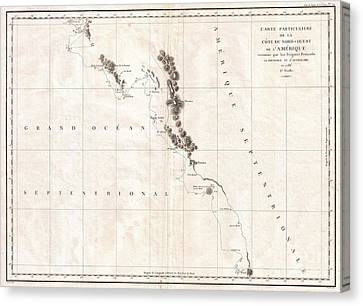 1786 La Perouse Map Of Vancouver And British Columbia Canada Canvas Print by Paul Fearn