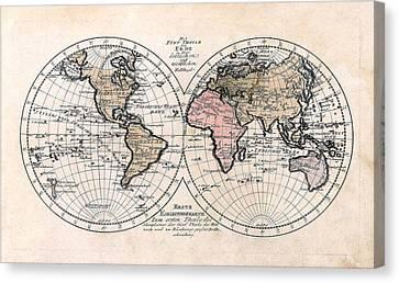 Canvas Print featuring the photograph 1791 Antique World Map Die Funf Theile Der Erde by Karon Melillo DeVega