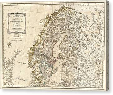1794 Antique Map Norway Sweden Canvas Print by Dan Sproul