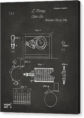 1794 Eli Whitney Cotton Gin Patent 2 Gray Canvas Print by Nikki Marie Smith