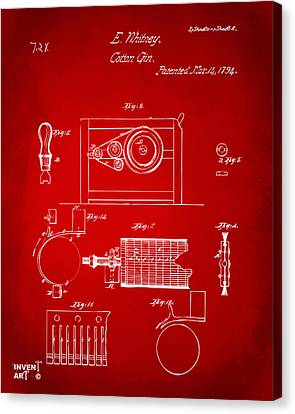 1794 Eli Whitney Cotton Gin Patent 2 Red Canvas Print by Nikki Marie Smith