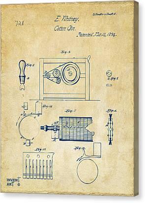 1794 Eli Whitney Cotton Gin Patent 2 Vintage Canvas Print by Nikki Marie Smith