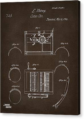 1794 Eli Whitney Cotton Gin Patent Espresso Canvas Print