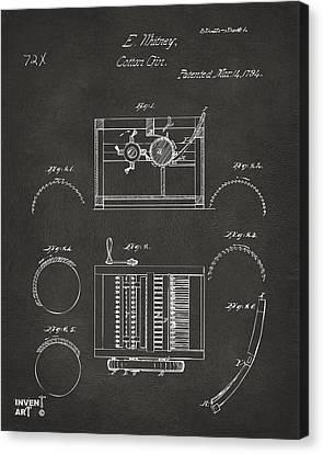 1794 Eli Whitney Cotton Gin Patent Gray Canvas Print by Nikki Marie Smith