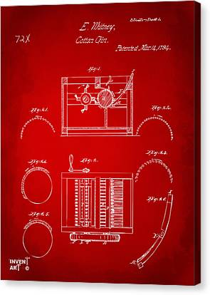 1794 Eli Whitney Cotton Gin Patent Red Canvas Print by Nikki Marie Smith