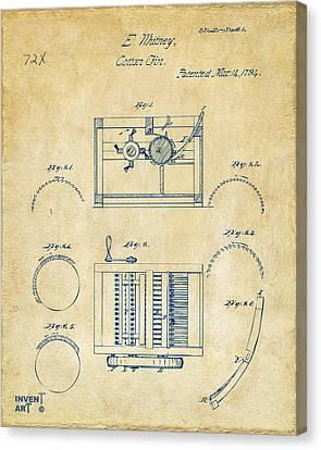 1794 Eli Whitney Cotton Gin Patent Vintage Canvas Print by Nikki Marie Smith