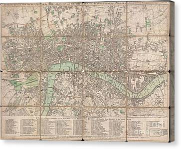 1795 Bowles Pocket Map Of London Canvas Print