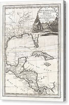 1798 Cassini Map Of Florida Louisiana Cuba And Central America Canvas Print