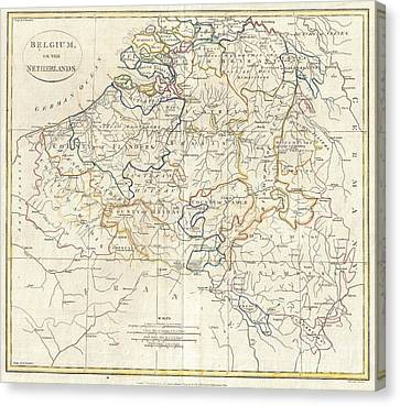 1799 Clement Cruttwell Map Of Belgium Or The Netherlands Canvas Print by Paul Fearn