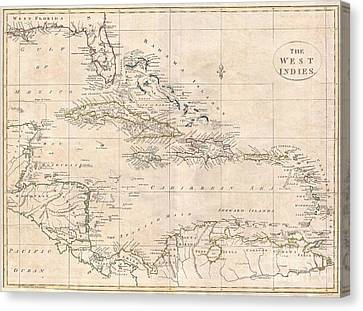 1799 Clement Cruttwell Map Of West Indies Canvas Print by Paul Fearn