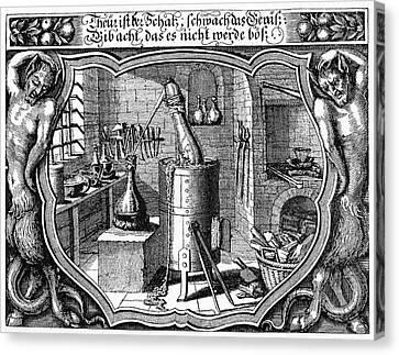 17th Century Alchemist's Laboratory Canvas Print