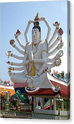 Statue Of David Canvas Print - 18 Arm Buddha Statue At Wat Plai Laem by David R. Frazier