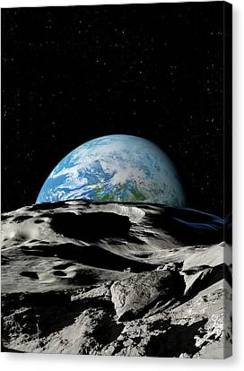 Asteroid Approaching Earth Canvas Print
